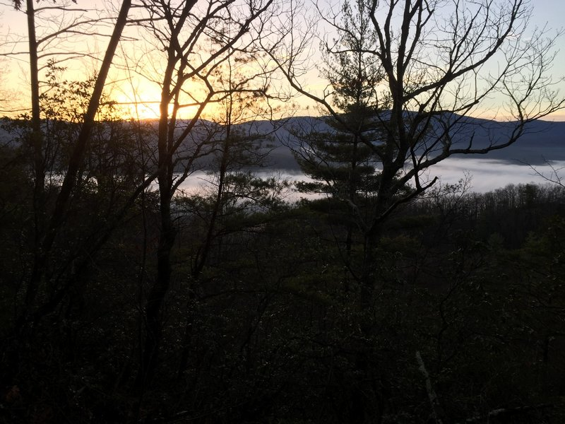 A sunrise and fog make for beautiful views over Unicoi County.