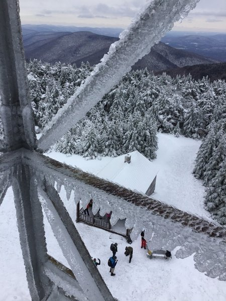 Wintertime ice can't obscure the gorgeous views from Hunter Mountain Fire Tower. Just be careful on the way up, as the steps can be slippery!