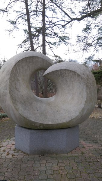 """An """"Untitled"""" sculpture stands near the entrance to the trail."""