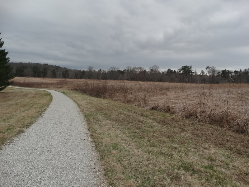 The trail is gravel on the prairie side of the Two Ponds Loop.