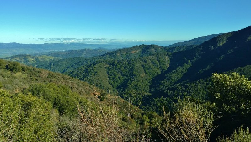 Enjoy phenomenal views looking east from high on the Woods Trail. Quicksilver Hills stand on the left in the distance; East Bay Hills in the far distance (left); and the east shoulder of Mt. Umunhum stands on the right.