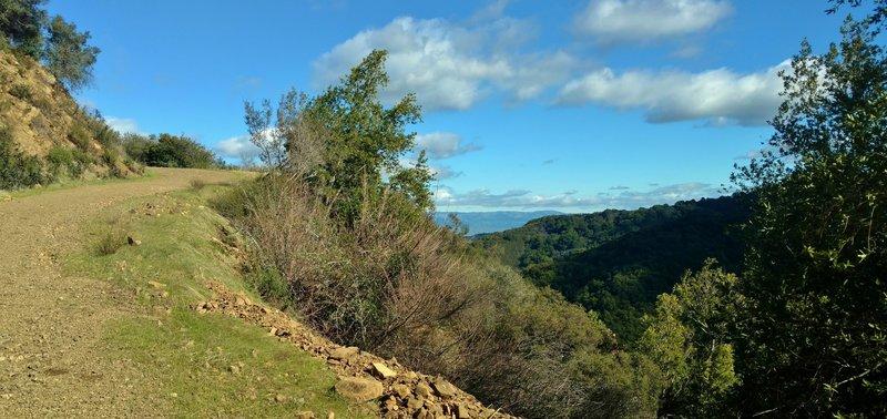 Expect gorgeous views as you climb through rugged terrain on the Woods Trail in the Santa Cruz Mountains.