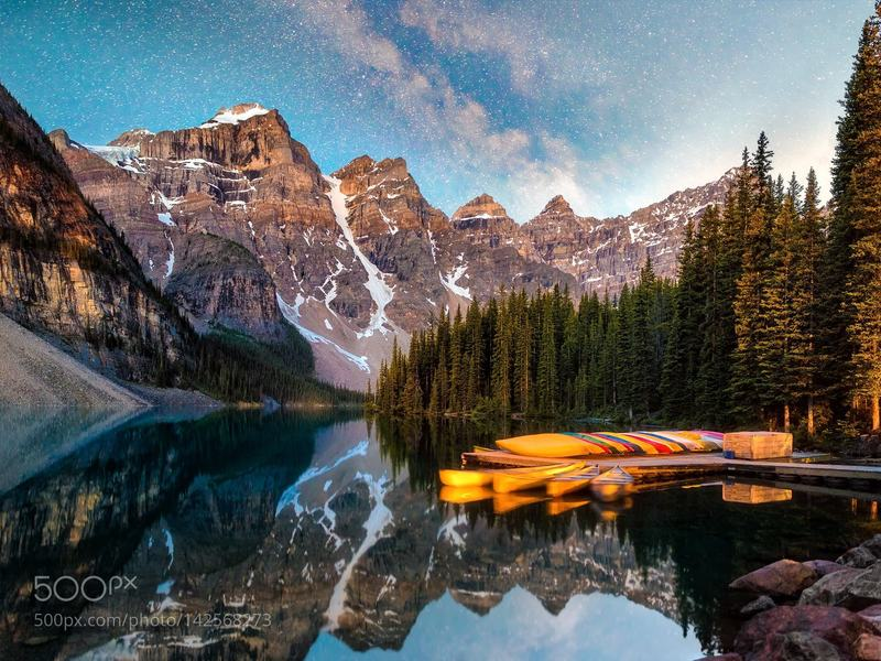 Valley of the Ten Peaks: Time stands still during this beautiful early morning at Moraine Lake in the Rocky Mountains of Alberta.