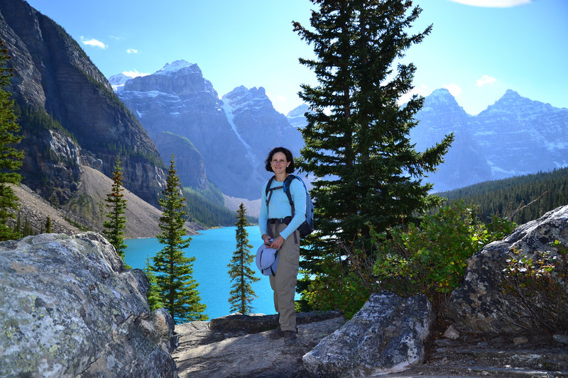 Enjoy the view of Moraine Lake on a sunny day.