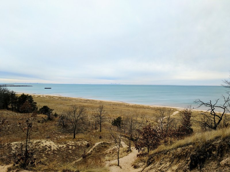 This is the view from the top of a dune along the trail. You can see the Chicago skyline on clear days.