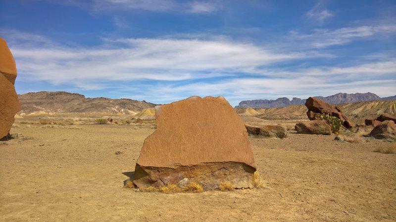 Petroglyphs adorn many area rocks in the Chisos Basin.