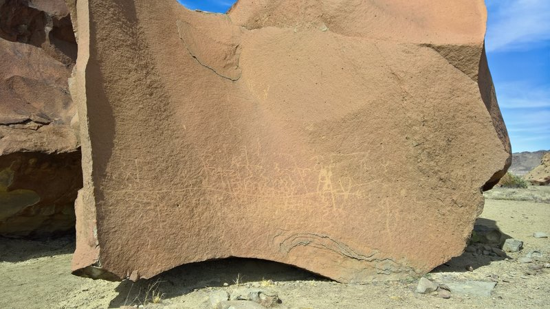 You won't need to look too hard to find petroglyphs in this area.