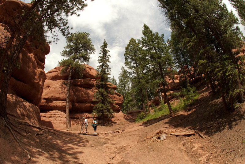 A group takes some photos of the rock formations at Red Rocks.