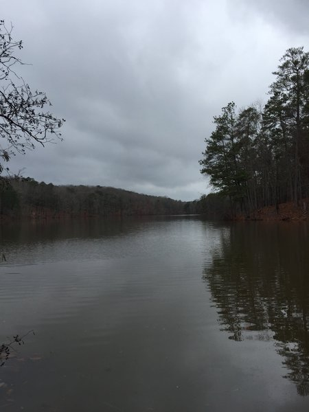Venable Lake is pleasant when viewed from the beginning of the land bridge between it and the larger Stone Mountain Lake.