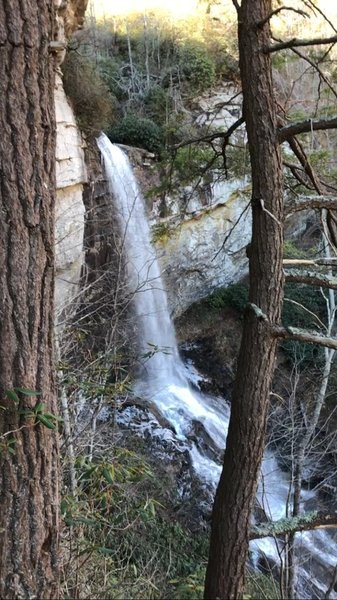 Raven Cliff Falls cascades onto the rocks below.