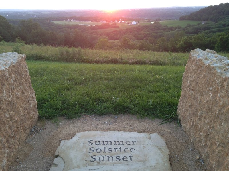 On the summer solstice, the stones in the Council Ring align with the setting sun.