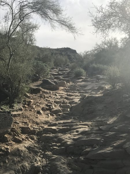 There's plenty of rock-staircase climbing along the Mormon Trail.