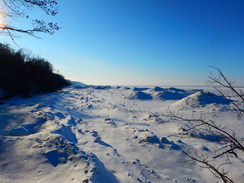 Ice dunes along the lakeshore are a must see.
