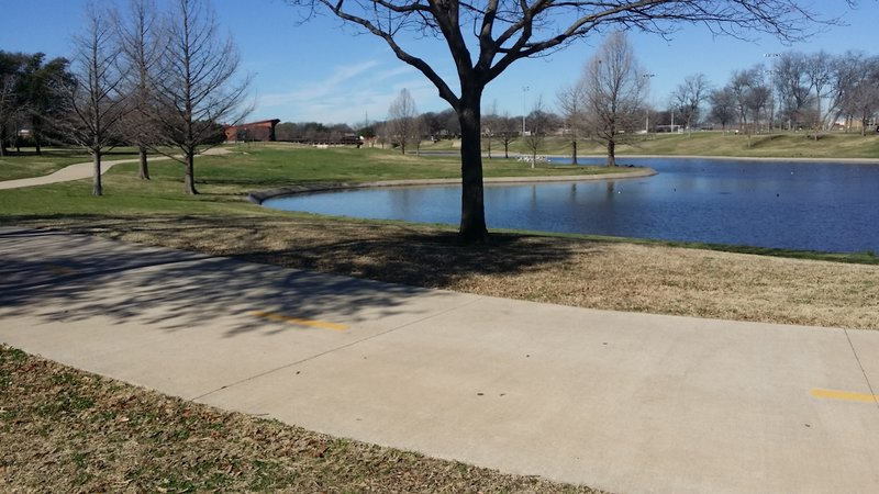 A pond was created by Huffhines Creek near the recreation center.