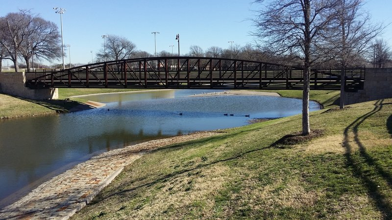 A trestle-style bridge aids your passage over Huffhines Creek.