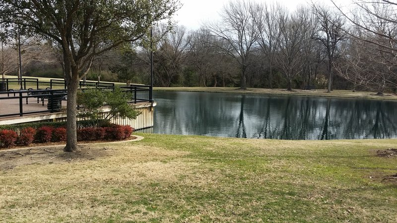 A nice deck makes for easy viewing of the fish pond.