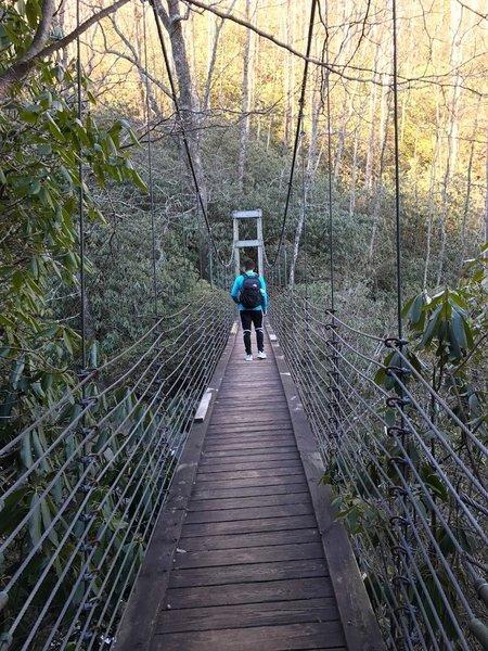 A sturdy bridge aids your passage over Matthews Creek.