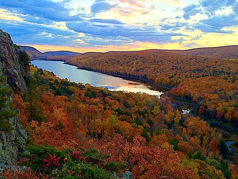 Enjoy beautiful fall colors at Lake of the Clouds.