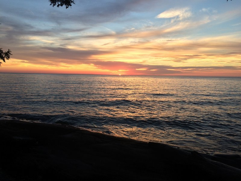 The sun sets over Lake Superior.