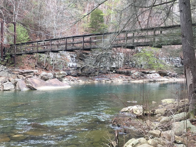 This is the first bridge on the trail from the main Piney River parking area. I watched a young guy jump from the bridge into the swimming hole below in February!
