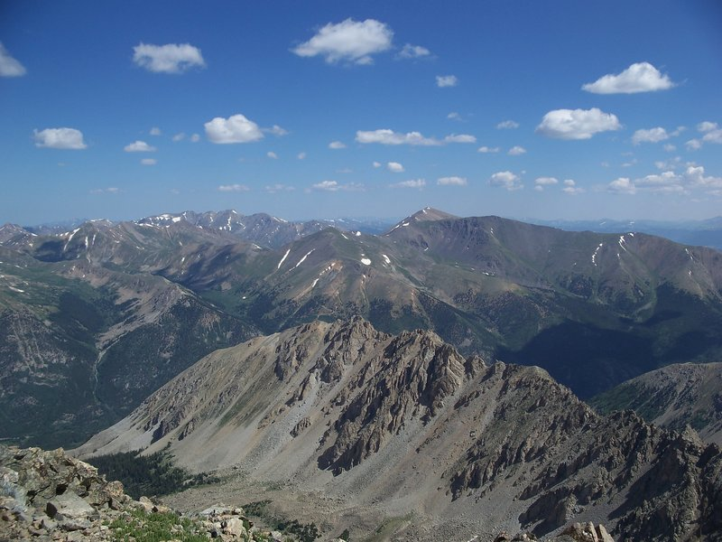 La Plata offers awesome views of Mt. Elbert (center right) and Mt. Massive (1/4 left) on a beautiful, clear day.