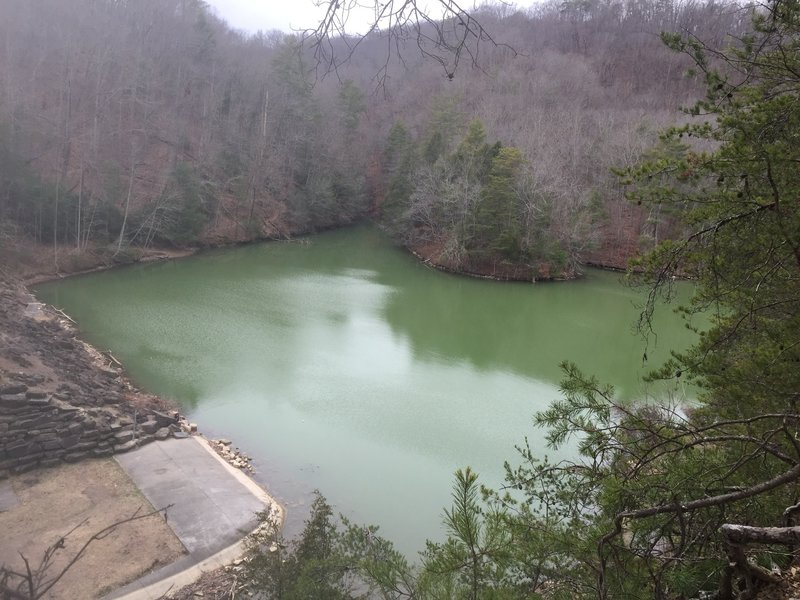Enjoy this view of the lake and dam from a nearby switchback on the Fox Ridge Trail.