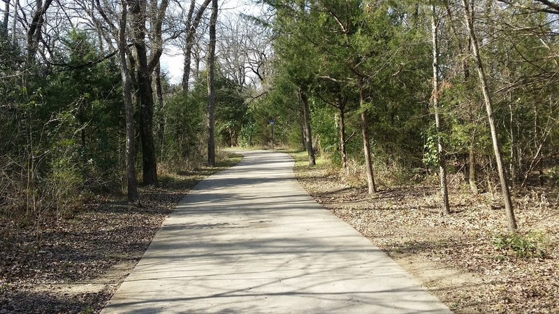 Expect this typical paved path through the forest in Spring Creek Nature Area.