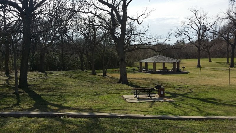 Foxboro Park Pavilion makes a lovely place to have a picnic along the Spring Creek Trail.