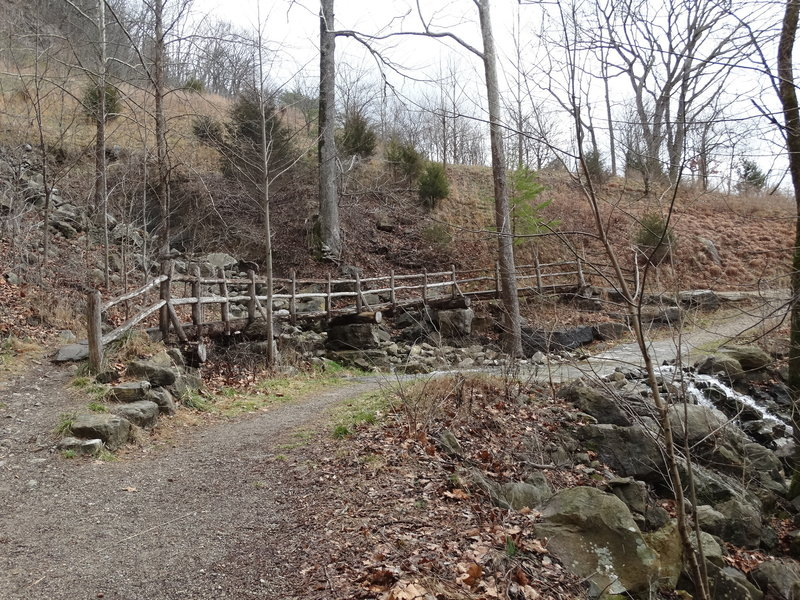 The trail crosses over a low-water creek with small falls.