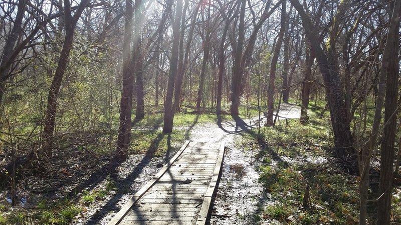 Boardwalks in lower-lying areas help to keep feet dry.