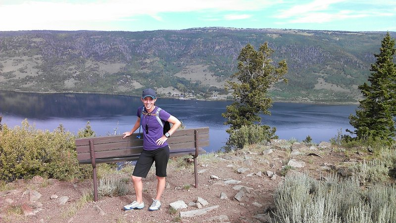 Enjoy expansive views looking down on Fish Lake from the east ridge.