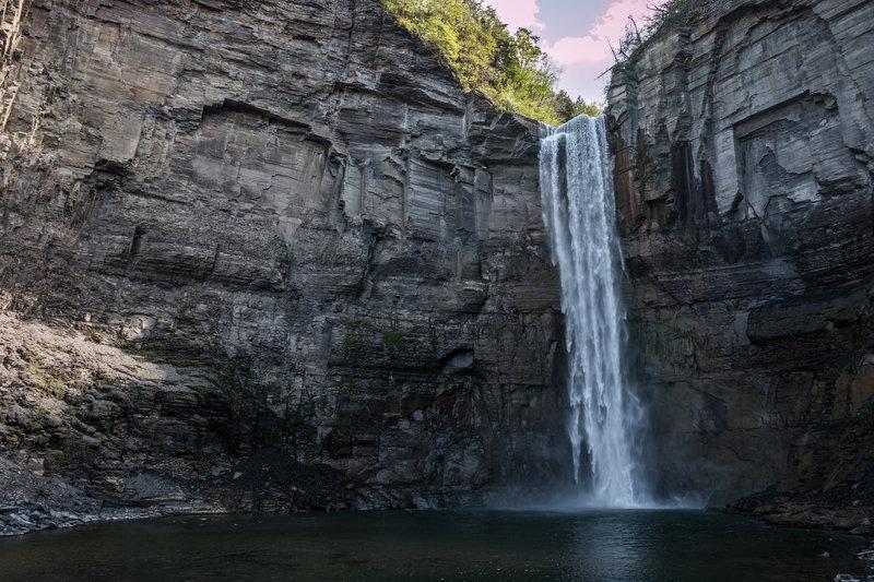 Taughannock Falls plummets over the sheer cliffside.