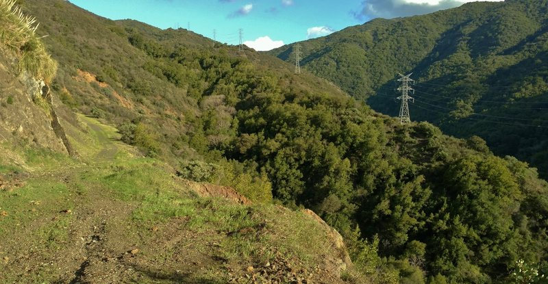 The Limekiln Trail winds along a steep, rugged hillside with a creek at the bottom.