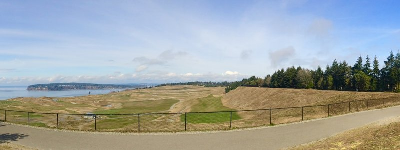 Enjoy pleasant views of Chambers Bay Golf Course and the Puget Sound from the Soundview - Grandview Connector