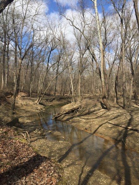 Coffee Creek runs along the White Oak Trail.