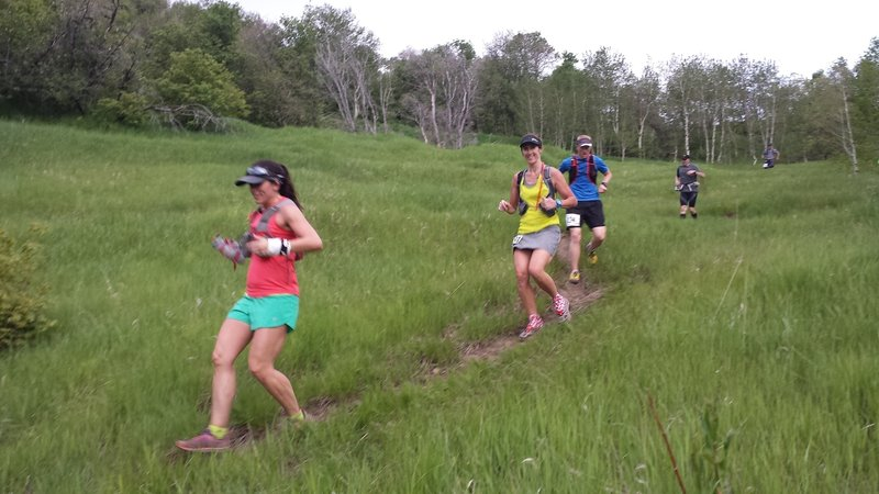 At mile 7.3, runners descend through the meadow below Rock Canyon Pass.