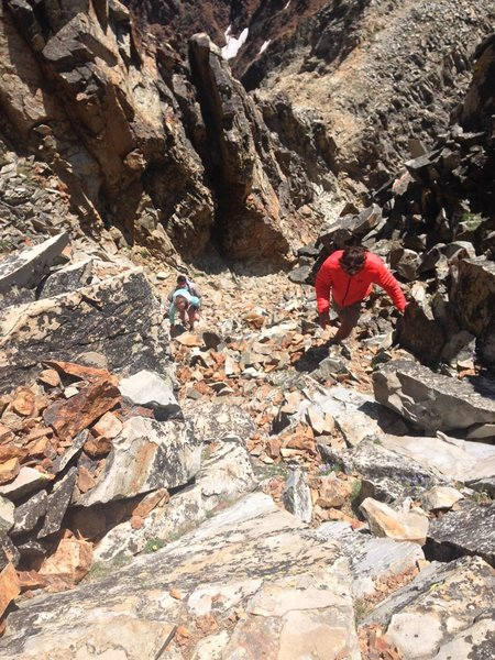 Navigate this steep scramble up a scree field as you approach the summit of Electric Peak.