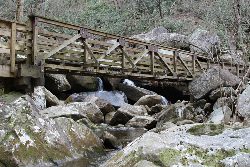 A sturdy wooden bridge aids your passage over Jacobs Fork.