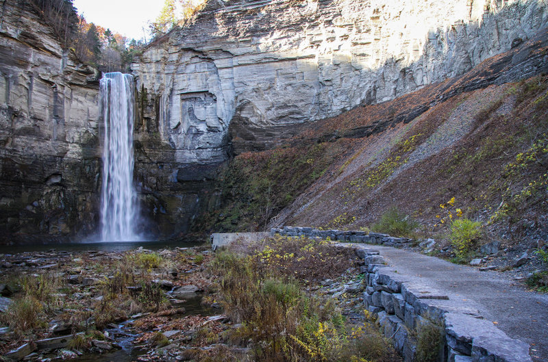 The path near the base of the beautiful Taughannock Falls offers a fantastic look at the water and surrounding amphitheater.