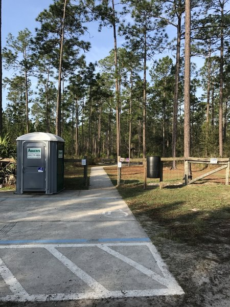 The trailhead sports ample parking and a porta-potty.