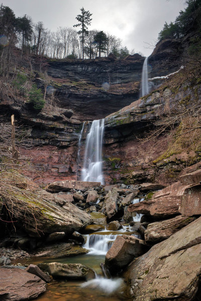 Experience a magnificent double waterfall at the end of the Kaaterskill Falls Trail.