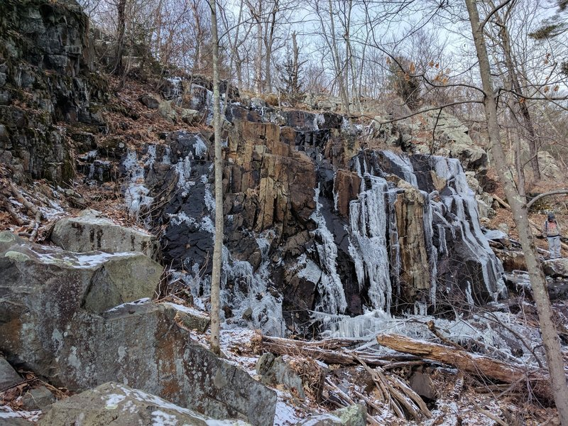 A frozen Cascade Falls makes for a beautiful wintertime reward at the trail's end.