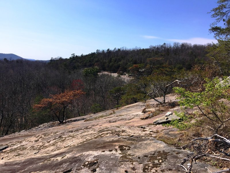 Along the Vertical Mile Challenge Trail's steep climb, enjoy this interesting rock slab and an incredible view.
