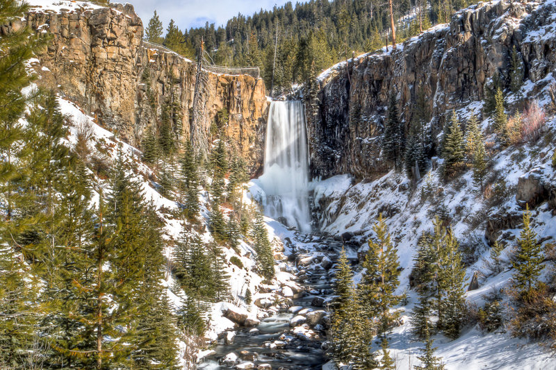A snow-decorated Tumalo Falls is your wintertime reward along the North Fork Trail.