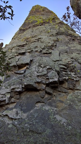 A huge column of rock stands along this section of the Pinnacles Trail.