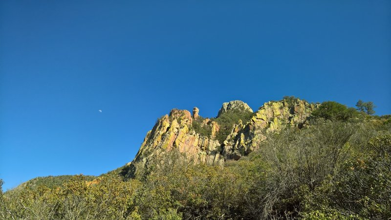 A view of Emory Peak is further improved by a beautiful moon.