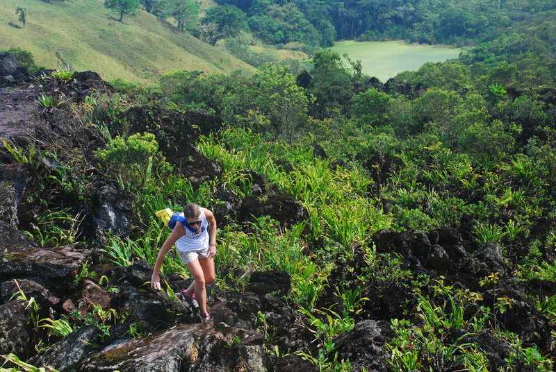Navigate tricky lava rocks toward the end of the trail.