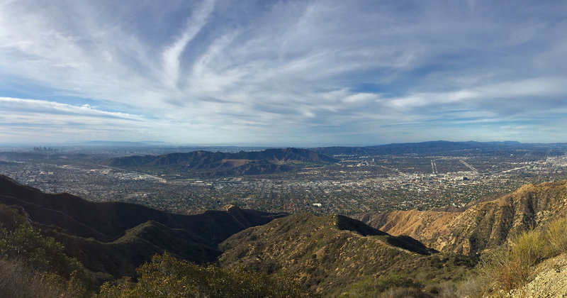 View from the top near the KROQ antenna, looking southwest at Griffith Park with Downtown LA off to the left.