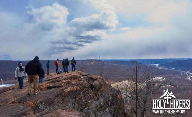 The group looks toward Mahwah, NJ and New York City off on the horizon.