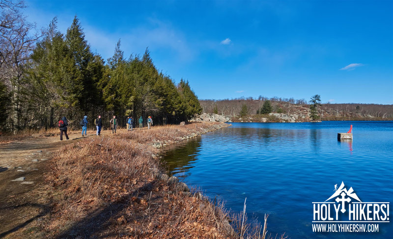 Our group enjoys a stroll along the lake edge.